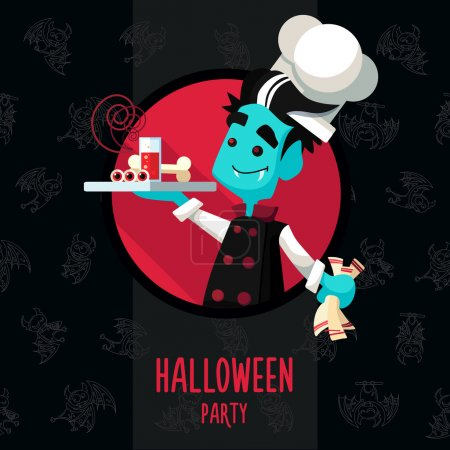 Halloween vector illustration in style flat about vampire chef