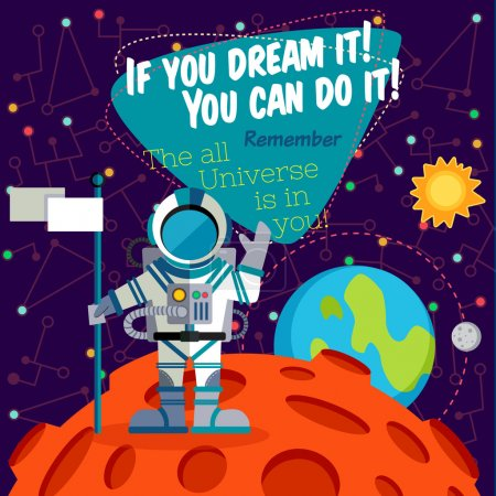 Illustration for Vector illustration in flat style about outer space. Planets in the univers. Greeting card - Royalty Free Image