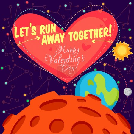 Illustration for Vector illustration in flat style about outer space. Planets in the universe. Happy valentines day greeting card - Royalty Free Image