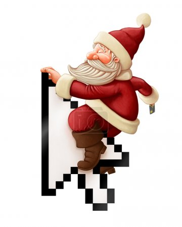 Photo for Santa Claus with credit card rides arrow cursor - Royalty Free Image