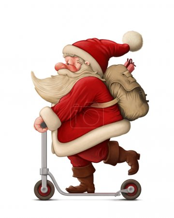 Photo for Santa Claus with the Push scooter delivery the gifts - Royalty Free Image