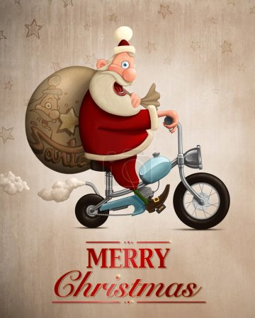 Santa Claus motorcycle delivery Greeting card