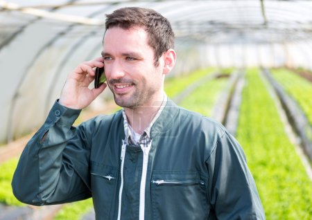 Portrait of an attractive farmer in a greenhouse using mobile