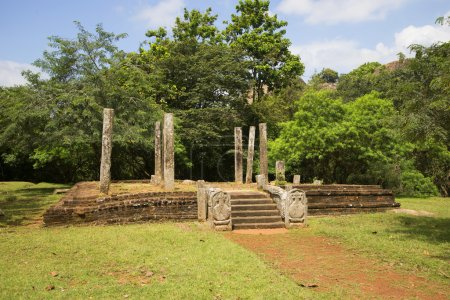 Ruins of ancient Buddhist temple in the monastery of Meda Maluwa. Mihintale, Sri Lanka