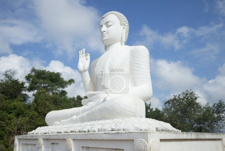 Sculpture of a seated Buddha in the monastery Medamulana. Mihintale, Sri Lanka