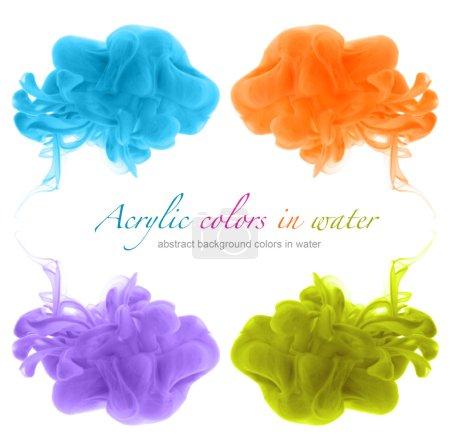 Foto de Conjunto de colores acrílicos en agua. Abstact. - Imagen libre de derechos