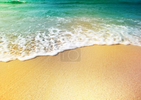 Photo for Wave of sea water and sand - Royalty Free Image