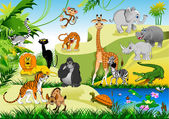 Funny animals in green jungle