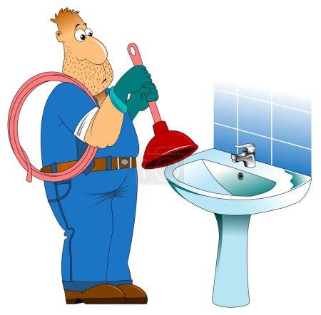Illustration pour Plombier sympathique avec un piston, il s'habillera en vêtements de travail - image libre de droit