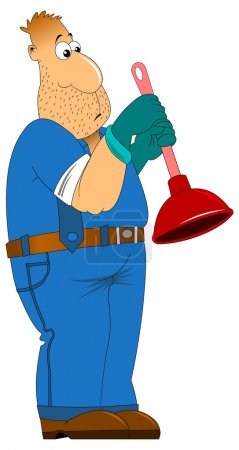 Sad plumber with plunger