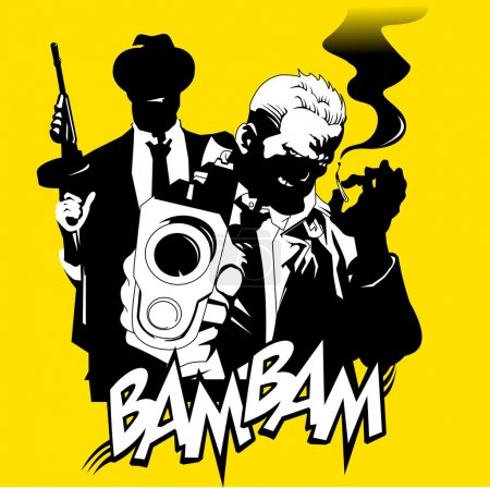 Men in black suits with a weapon, vector illustrat...