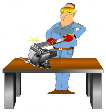 Worker in blue overalls with file