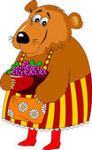 Mama Bear with berries in color apron and red boots