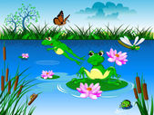 green frogs in pond