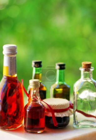 table of assorted alcoholic beverages