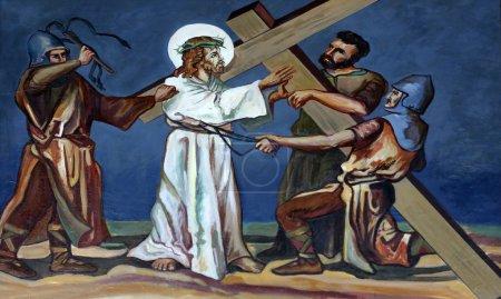 Photo pour 2ème Chemin de Croix, Jésus reçoit sa croix - image libre de droit