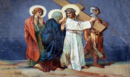 Photo pour 4ème Chemin de Croix, Jésus rencontre sa Mère - image libre de droit