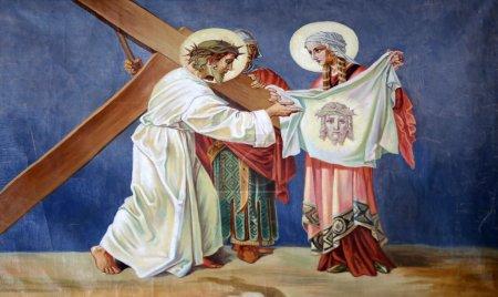 Photo pour 6ème Chemin de Croix, Veronica essuie le visage de Jésus - image libre de droit