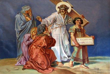 Photo pour 8ème Chemin de Croix, Jésus rencontre les filles de Jérusalem - image libre de droit