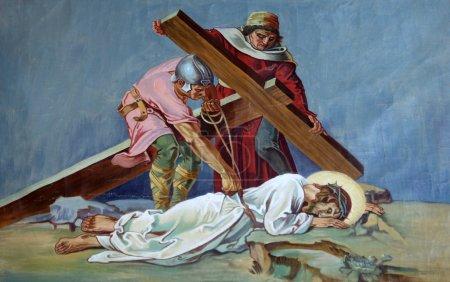 Photo pour 9ème Stations de la Croix, Jésus tombe pour la troisième fois - image libre de droit