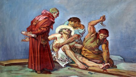 Photo pour 11ème Chemin de Croix, Crucifixion : Jésus est cloué à la croix - image libre de droit
