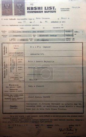 mutter teresas geburtsurkunde ausgestellt das gedenkhaus