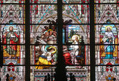 Saint Cecilia, stained glass in Minoriten kirche in Vienna