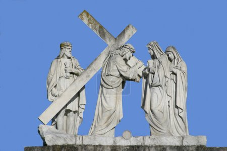 4th Stations of the Cross, Jesus meets His Mother,  pilgrimage Sanctuary, Assumption of the Virgin Mary in Marija Bistrica, Croatia, on June 29, 2009