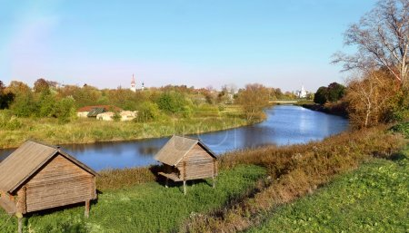 Russian landscape with river Kamenka,  and Churc