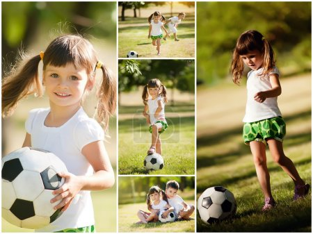 little girl playing with her brother in soccer, collage