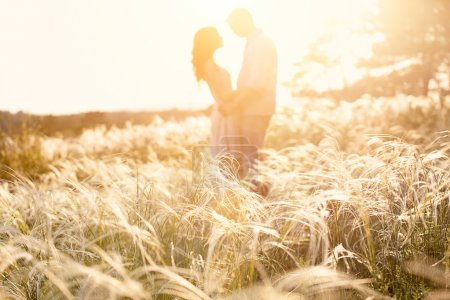 Photo for Couple kiss at sunset, focus on foreground - Royalty Free Image
