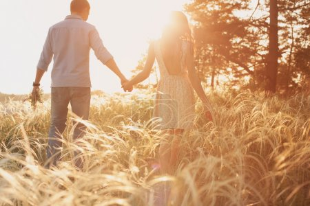 Photo for Lovers walking in a field at sunset holding hands - Royalty Free Image