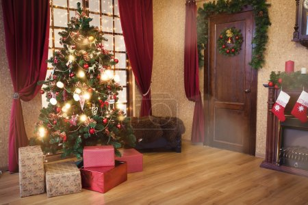 Photo for Interior living room with a Christmas tree and decorations. - Royalty Free Image