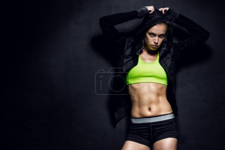 Photo for Fitness lifestyle portrait, caucasian model, trained body, copyspace - Royalty Free Image