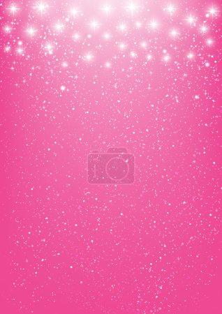 Illustration for Shiny stars on pink background - Royalty Free Image