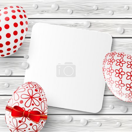 Illustration for Easter eggs on wooden white background - Royalty Free Image