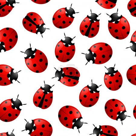Pattern with red ladybugs