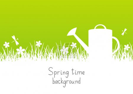 Illustration for Spring garden background with watering can and place for Your text - Royalty Free Image