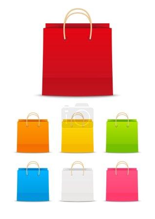 Illustration pour Sacs à provisions en papier coloré pour votre design - image libre de droit