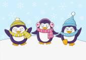 cute penguins on snow