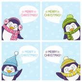 Set of Christmas penguins