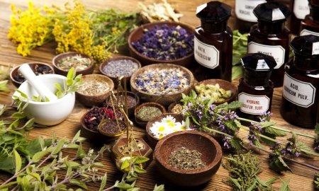 Photo pour Herbes et bouteilles de médecine - image libre de droit