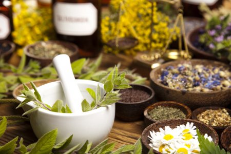 Photo for Natural medicine, herbs, mortar on wooden table - Royalty Free Image