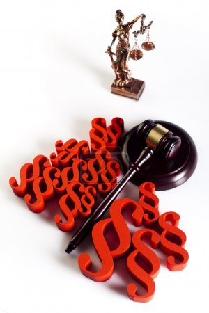 Wooden gavel and paragraph signs