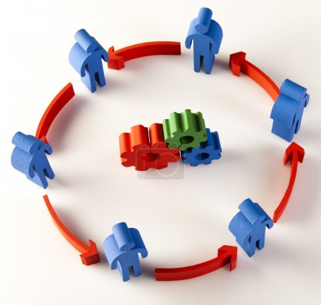 Photo for Concept of teamwork, people and icons - Royalty Free Image