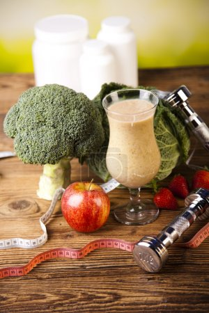 Photo for Healthy diet, protein shakes, fruits and sport and fitness concept - Royalty Free Image