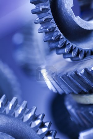 Photo for Blue Gears, industrial mechanism with reflection on blurred background - Royalty Free Image