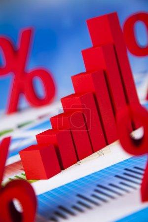 Financial graph and percent symbols
