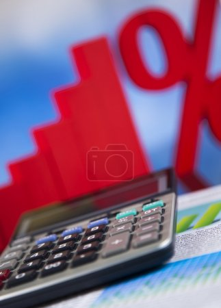 Background with financial symbols and calculator