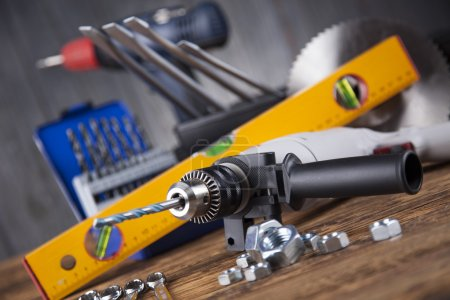 Photo for Set of Working tools on wooden background - Royalty Free Image